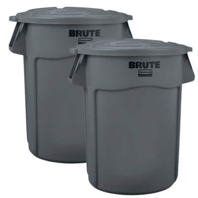 Brute 44 Gal. Grey Round Vented Trash Can (2-Pack)