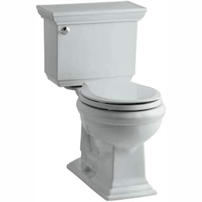 Memoirs Stately 2-piece 1.28 GPF Single Flush Round Toilet with AquaPiston Flushing Technology in Ice Grey