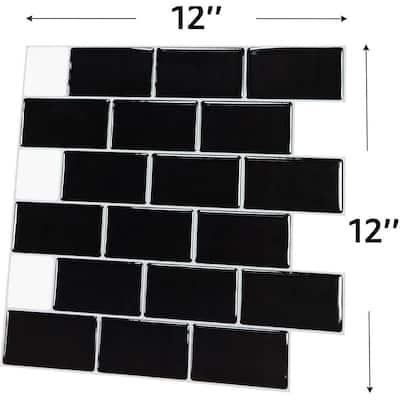 Subway Vinyl Tiles Black Peel and Stick Backsplash Wall Tiles 12 in. x 12 in. (8.2 sq. ft. /Box)