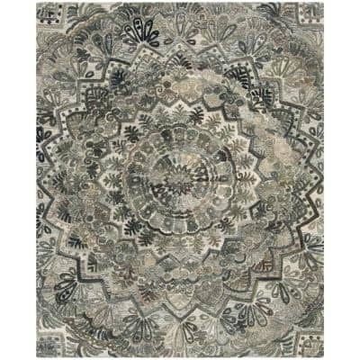 Marquee Gray/Multi 8 ft. x 10 ft. Border Area Rug