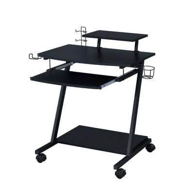 Ordrees 21 in. Rectangular Black with MDF, Particle Board, PVC Paper Metal Material Gaming Table with Keyboard Tray