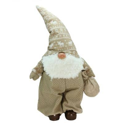 27.5 in. Beige and White Jolly James Gnome Christmas Tabletop Decoration