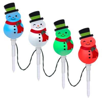 20 in. Christmas ColorMotion Snowman Pathway Stakes (Set of 4)