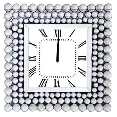Silver 20 in. Mirrored Wall Clock with Jeweled Accents