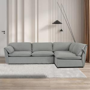 3-Piece 114.8 in. W Gray Polyester L Shape Right Facing Sectional Sofa and Chaise