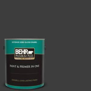 1 gal. Black Semi-Gloss Enamel Exterior Paint and Primer in One