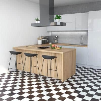 Sterling Black and White Checkered 12 in. x 12 in. Peel and Stick Vinyl Tile (45 sq. ft. / case)