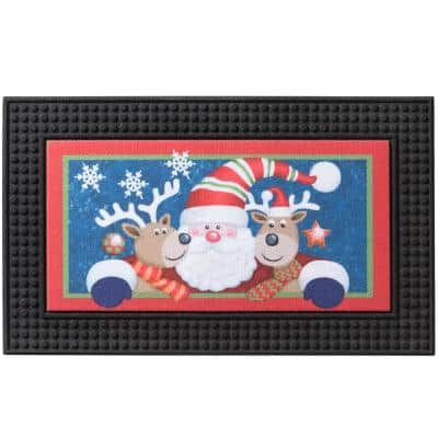 LED Santa's Crew 18 in. x 30 in. Rubber Light and Sound Door Mat