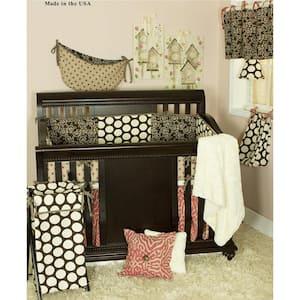 Raspberry Dot 8-Piece Brown and Pink Animal Print with Dots Crib Bedding Set