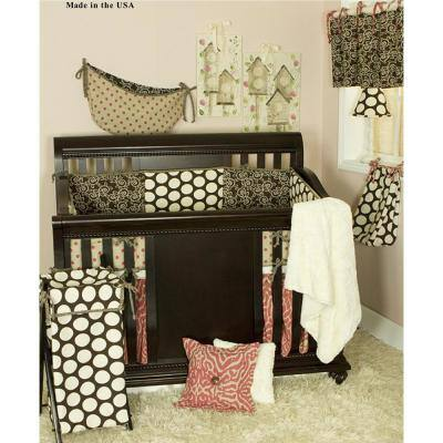 Raspberry Dot 8-Piece Brown and Pink Animal Print with Dots Crib Bedding Set