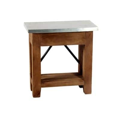 """Millwork 22"""" Wood and Zinc Metal End Table with Shelf"""