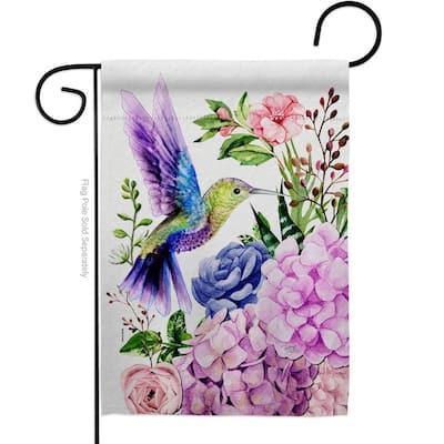 13 in. x 18.5 in. Purple Hummingbird Garden Flag Double-Sided Garden Friends Decorative Vertical Flags