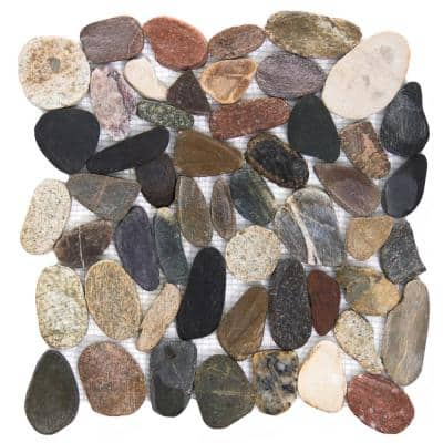 Rivera Pebbles Natural Honed 12.01 in. x 12.01 in. x 11 mm Pebbles Mesh-Mounted Mosaic Tile (1 sq. ft.)