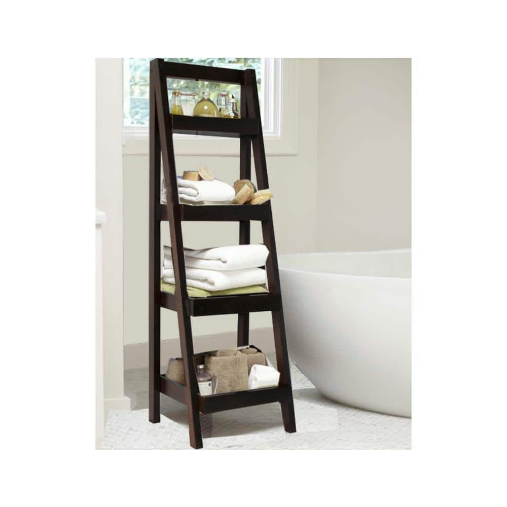 Bathroom Storage Ladder In Walnut Brl3000bw The Home Depot