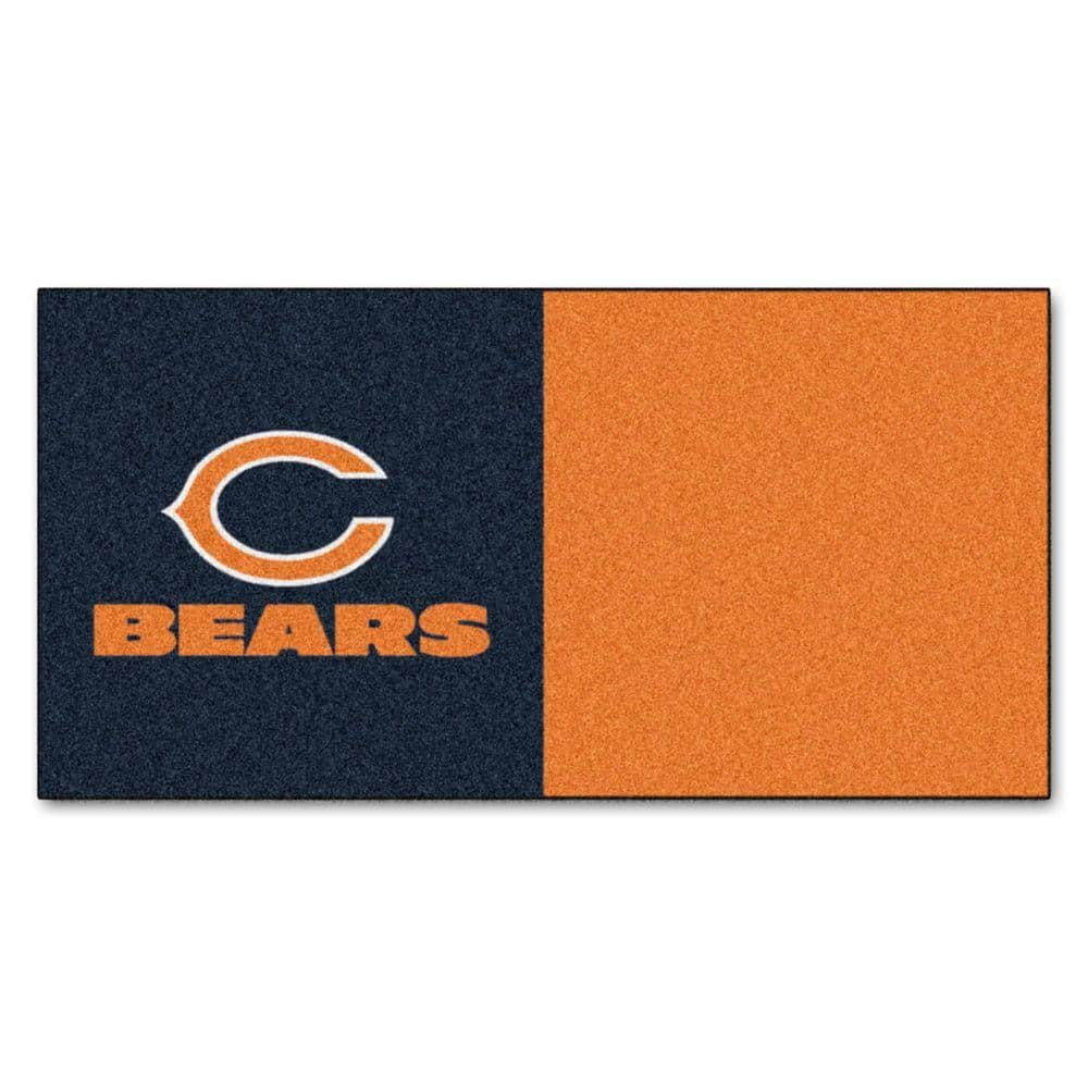 Fanmats Nfl Chicago Bears Orange And Blue Nylon 18 In X 18 In Carpet Tile 20 Tiles Case 8561 The Home Depot