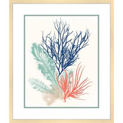 Sea Grass Collage II Framed Giclee Coastal Art Print 23 in. x 27 in.