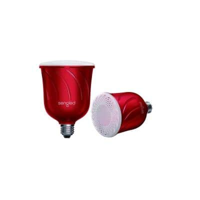 Pulse Dimmable BR30 LED Light with Built-In Wireless Bluetooth Speaker Powered by JBL- Red (2-Pack)