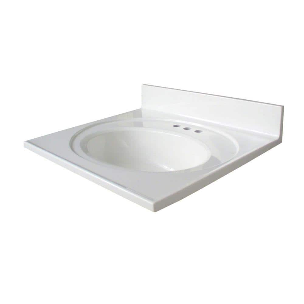 Glacier Bay Newport 25 In Cultured Marble Vanity Top In White With White Sink N2522gb W The Home Depot