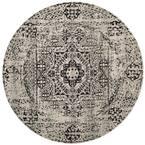 Evoke Ivory/Black 7 ft. x 7 ft. Round Area Rug