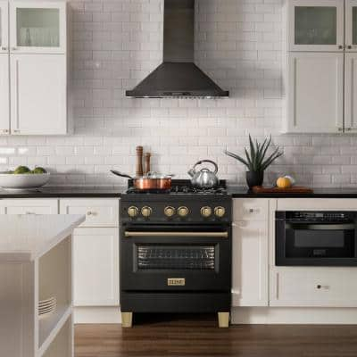 """Autograph Edition 30"""" 4.0 cu. ft. Dual Fuel Range in Black Stainless Steel with Champagne Bronze Accents (RABZ-30-CB)"""