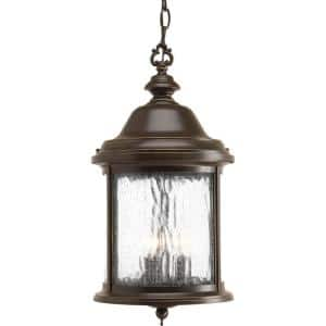 Ashmore Collection 3-Light Antique Bronze Water Seeded Glass New Traditional Outdoor Hanging Lantern Light