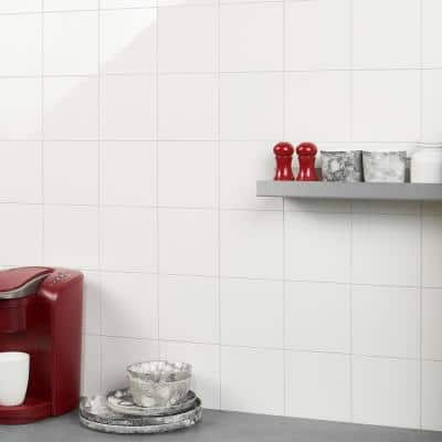 Luxe Core Square White 12 in. x 12 in. SPC Peel and Stick Tile (1 Sq. Ft. / Sheet)