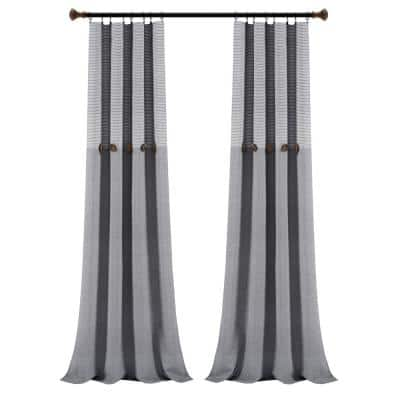 Gray Striped Rod Pocket Room Darkening Curtain - 40 in. W x 95 in. L (Set of 2)