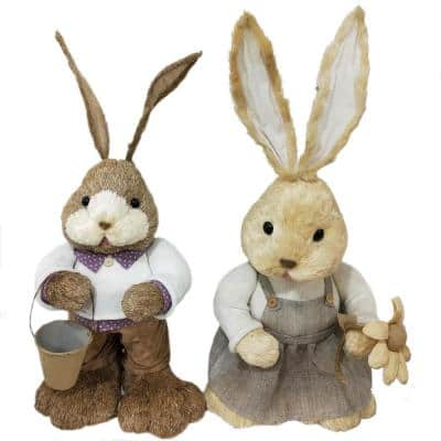 15 in. Easter Sisal Mr. and Mrs. Bunny Pair Figurine