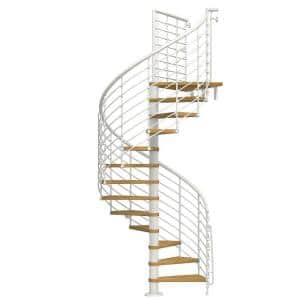 Arke Oak70 Xtra 63 In White Spiral Staircase Kit K26126 The Home Depot