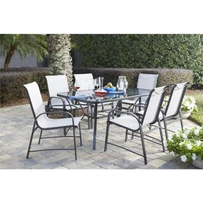 Paloma 7-Piece Steel Patio Dining Set with Tempered Glass Table Top