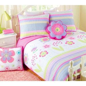 Spring Floral Stripe Dot Flower 5-Piece Purple Pink White Cotton Queen Quilt Bedding Set with 2-Decor Throw Pillows