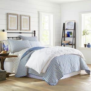 Willow Way Ticking Stripe 3-Piece Navy Blue Cotton Full/Queen Quilt Set