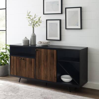 "60"" 3- Door Sideboard - Solid Black/Dark Walnut"