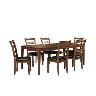7-Piece Brown Solid Wood Dining Table Set with 6 Wooden Chairs and Extendable Rectangle Dissing Table