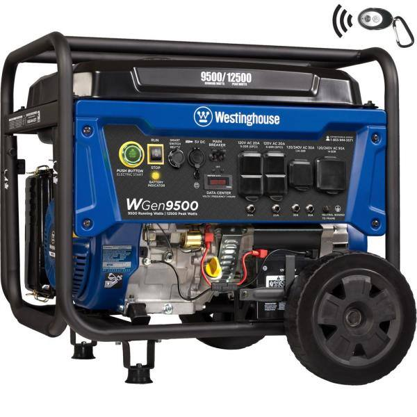 Westinghouse WGen9500 12,500/9,500 Watt Gas Powered Portable Generator with Remote Start and Transfer Switch Outlet for Home Backup