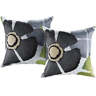 Patio Square Outdoor Throw Pillow Set in Botanical (2-Piece)