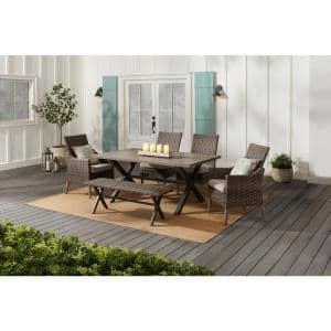 Rock Cliff 6-Piece Brown Wicker Outdoor Patio Dining Set with Bench and CushionGuard Riverbed Tan Cushions