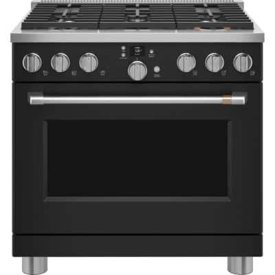 36 in. 5.75 cu. ft. Smart Dual Fuel Range with Self-Cleaning Convection Oven in Matte Black