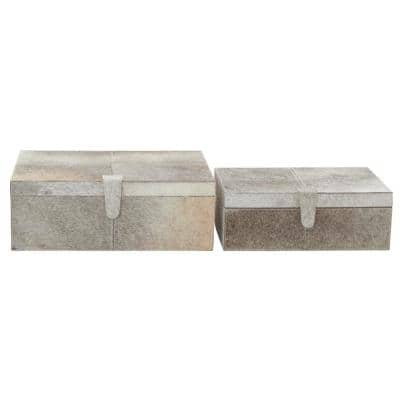 Wide Rectangular Wood and Leather Hide Gray Boxes (Set of 2)
