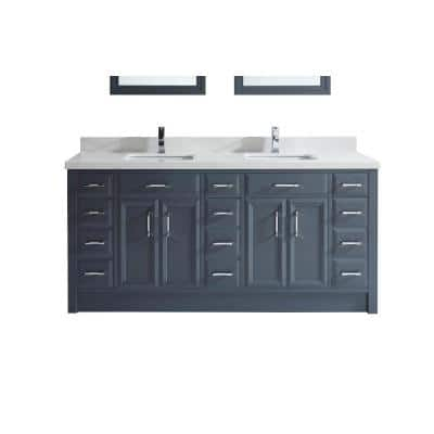 Calais 75 in. W x 22 in. D Vanity in Pepper Gray with Solid Surface Vanity Top