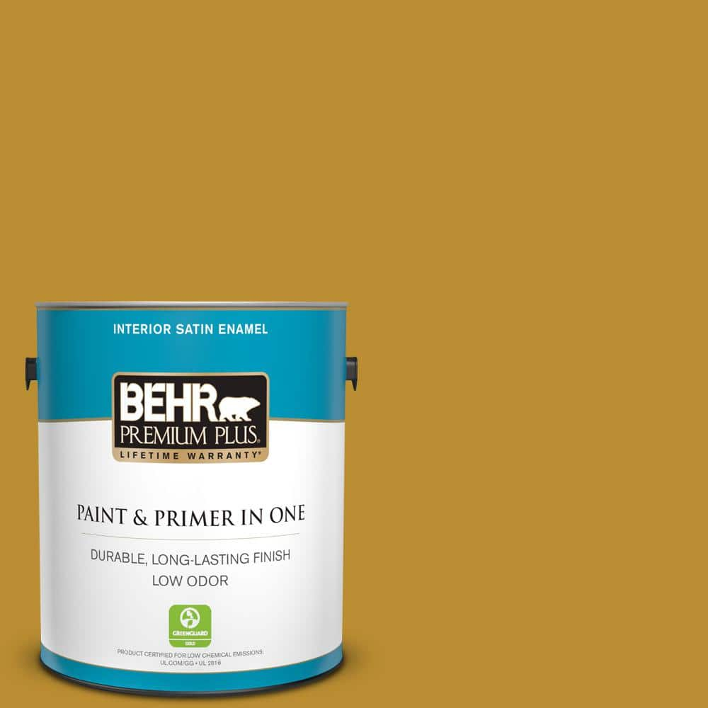 Behr Premium Plus 1 Gal 360d 7 Brown Mustard Satin Enamel Low Odor Interior Paint And Primer In One 730001 The Home Depot