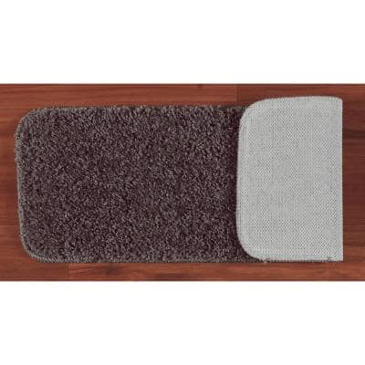 Sweethome Stores Luxury Collection Gray 9 in. x 26 in. Rubber Back Shaggy Stair Tread Cover (Set of 14)