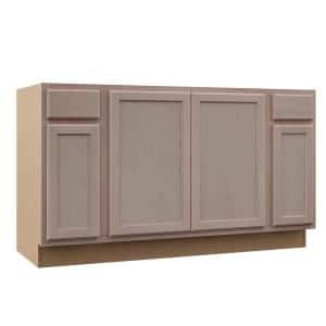 Hampton Unfinished Beech Raised Panel Stock Assembled Sink Base Kitchen Cabinet (60 in. x 34.5 in. x 24 in.)