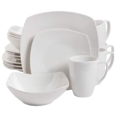 Zen 16-Piece Contemporary White Ceramic Dinnerware Set (Service for 4)