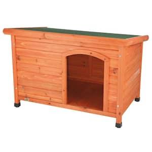 natura Classic Dog House, Flat Hinged Roof, Adjustable Legs, Brown, Medium