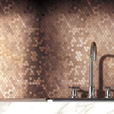 Hexagonia Dark Copper 11.89 in. x 11.46 in. x 5 mm Metal Peel and Stick Wall Mosaic Tile (5.68 sq.ft/Case)