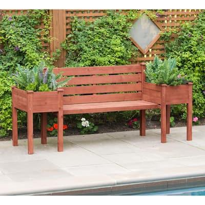 Wooden Medium Brown Patio Planter Bench