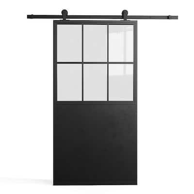 "Metz 35""w X 83""h 6 Panel 1/2 Lite Clear Glass French Casement Black Metal Sliding Barn Door with Hardware Kit"