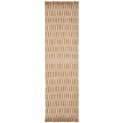 Natural Fiber Beige/Ivory 2 ft. x 6 ft. Geometric Runner Rug