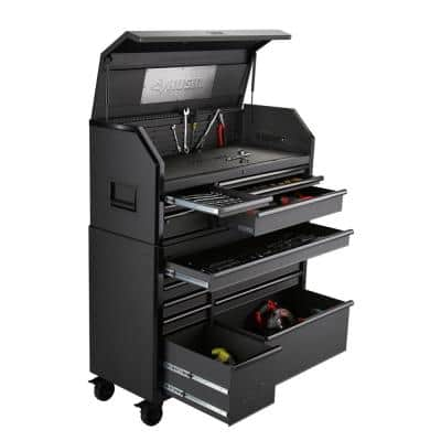 Heavy-Duty 52 in. W 15-Drawer, Deep Combination Tool Chest and Rolling Cabinet Set in Matte Black